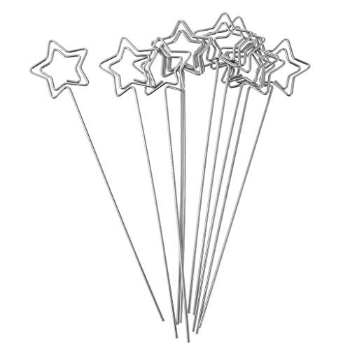 Prettyia Assorted Shapes Metal Craft Wire Photo Clips, Card Holders, Wedding Place, Party Decors Silver - Star Shape (Silver Star Place Card Holder)