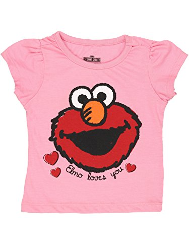Sesame Street Elmo Girls Short Sleeve Tee (2T, Pink Elmo Loves You) for $<!--$12.99-->