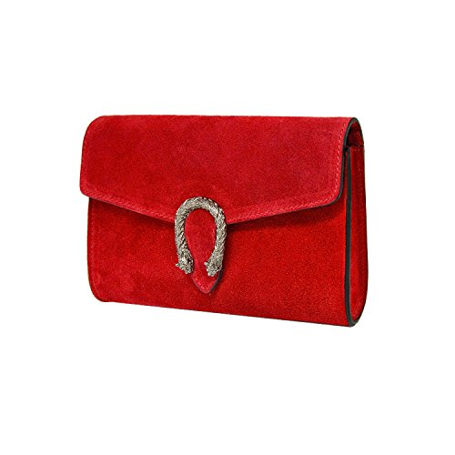 and flap suede clutch Baugette and RACHEL in Red Made Clutch chain metal tiger bag leather Italy smooth with snake accessory ORYEwx65qw