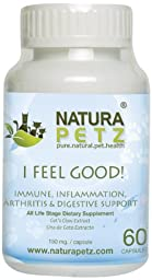 Natura Petz I Feel Good! Immune, Inflammation, Arthritis and Digestive Support for Pets, 60 Capsules Extract, 150mg Per capsule