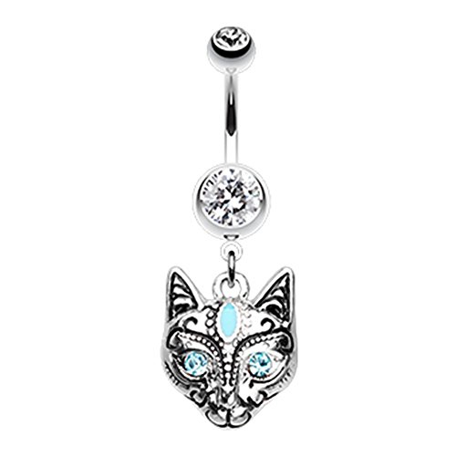 Inspiration Dezigns Belly Button Navel Ring Cleopatra Cat Dangle 14G Piecing Jewelry (Steel) (Cat Belly Piercing)