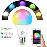 WiFi Smart LED Light Bulb, E27 Dimmable Multicolor Light Lamp, No Hub Required, Compatible with Alexa Echo Google Assistant and IFTTT, Remote Control by Smartphone iOS & Android, 50W Equivalent
