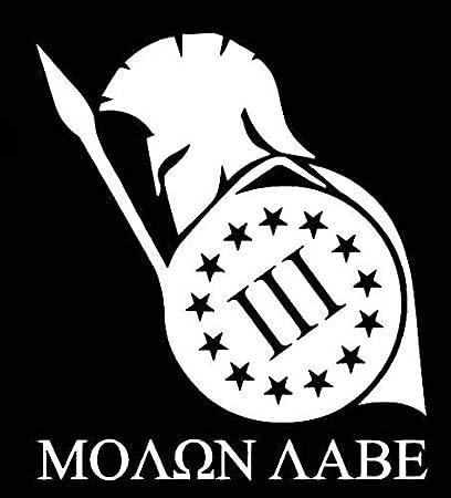 Molon Labe Spartan III 3% calcomanía vinilo calcomanía | Coches, camiones, furgonetas paredes portátiles | Blanco | 5.5 x 4.8 pulgadas | DUC989