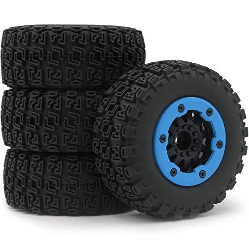 hobbysoul 4pcs 1/10 RC 2.2/3.0 Short Course SC Tires & Hex 12mm Beadlock Wheels Blue Color plastice Rims ()