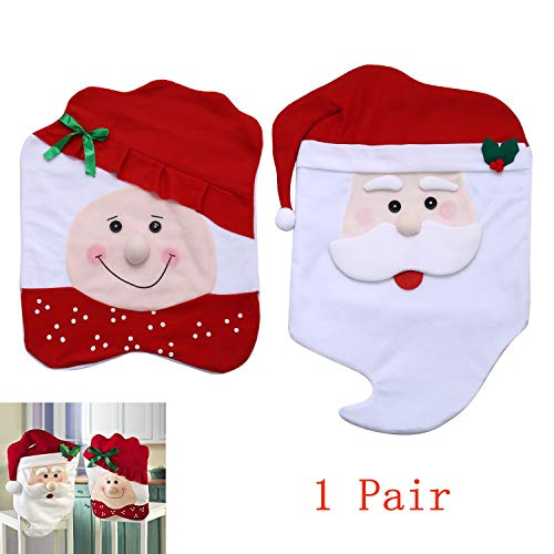 Cotton Dining Room Chair - FUNK Christmas Chair Covers Santa Claus Chair Back Covers Dinng Room, Red Hat Chair Decoration Kitchen
