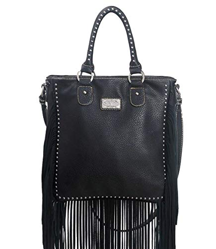 Trinity Ranch Tall Top-Handle Crossbody Tote w/Long Leather Fringe- Black