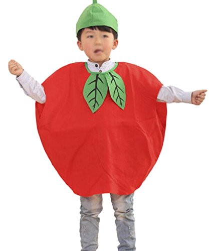 ANDES Child Party Clothing Red Apple Costume Suit for Christmas Holidy (Apple) -