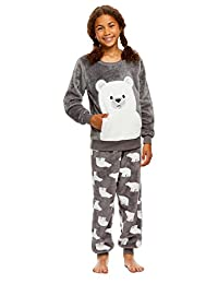 Girls 2 Piece Plush Pajama Set | Long Sleeve Fleece Top & PJ Pants