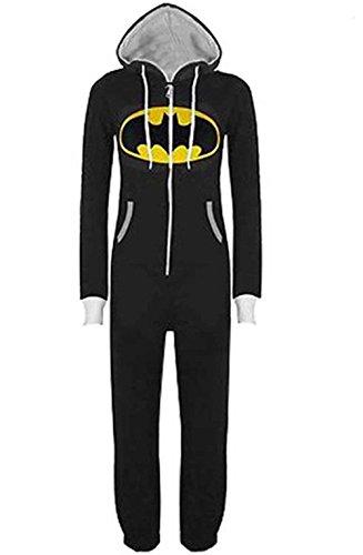 OMSMY Herren Damen Overall Jumpsuit Sleepsuit Superman & Batman mit Kapuze Pyjamas Kostüm Cosplay Homeware Sleepsuit Schlafanzug Unisex Overalls (L, Schwarz)