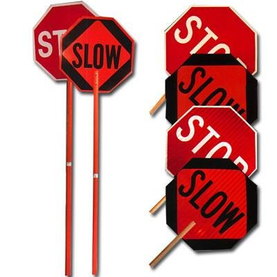 High Intensity Reflective Stop and Slow Signs - Handheld Type: Stop/Slow 18'', 60'' one piece handle