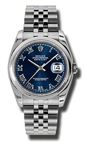 Rolex Datejust 36mm Stainless Steel Case, Domed Bezel, Blue Roman Numeral Dial and Jubilee Bracelet.