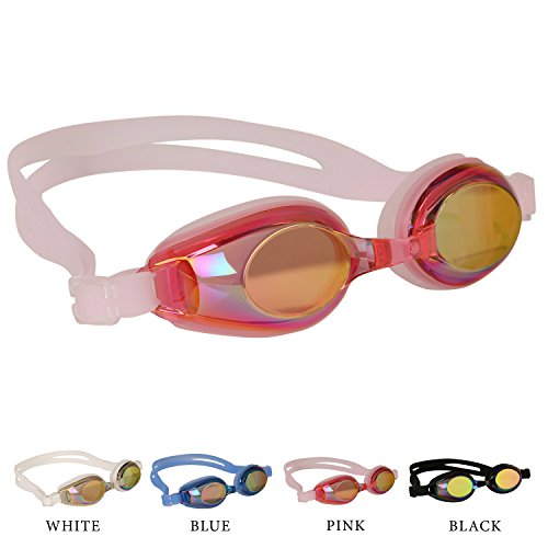 Kids Swimming Goggles Pink with 3 Adjustable Nose Bridge & Anti-Fog Coated Color Lens, Anti-Leak, Best Swim Goggle for age 4 to 10 yrs, With Quality Case & Ear Plugs
