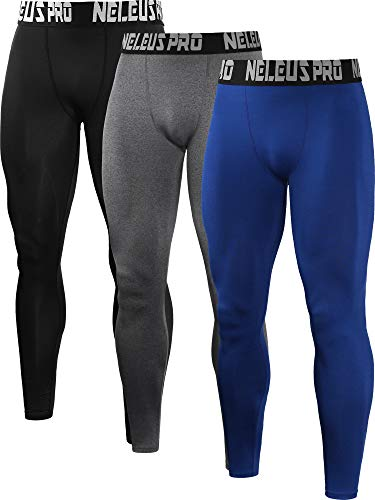 Neleus Men's 3 Pack Compression Pants Running Tights Sport Leggings,6019,Black,Grey,Blue,L,EU XL (Stretch Thermal Tights)