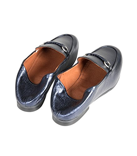 Hudson Damen Lederslipper Arianna in Blau-Metallic blue metal
