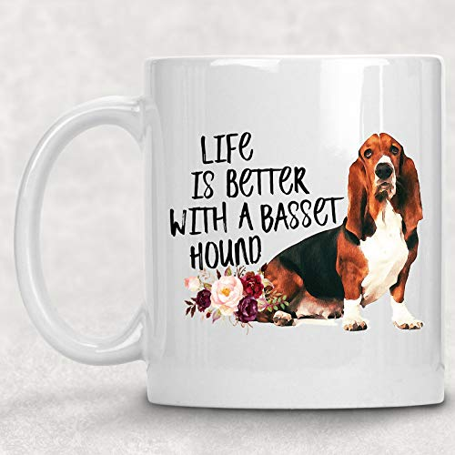 Life is Better with A Basset Hound Watercolor Mug Dog Lover Coffee Cup