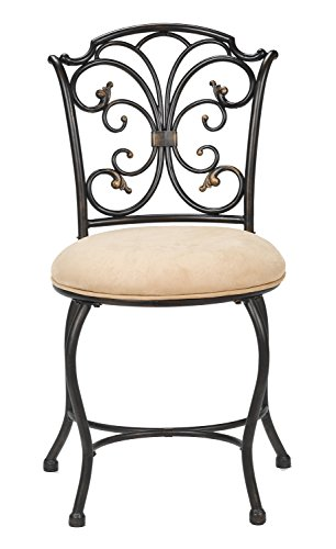- Hillsdale Furniture 50833H Sparta Vanity Stool, Black with Gold Highlighted Accents