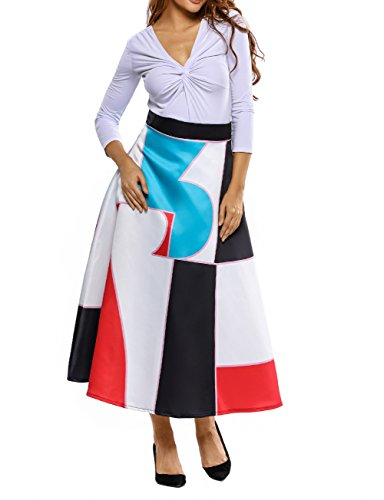 ashion Floral Print High Waist Wiggle A-line Ankle Length Skirt Dress ()