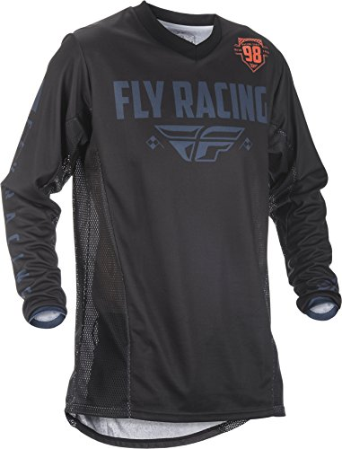 Fly Racing Men's Patrol Jersey(Shorty Cuff) (Black/Grey, Large) by Fly Racing