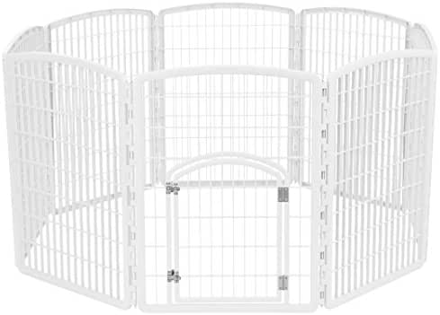 IRIS 34'' Exercise 8-Panel Pet Playpen with Door, White