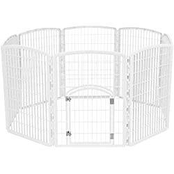 IRIS 34'' Exercise 8-Panel Pet Playpen with Door, White