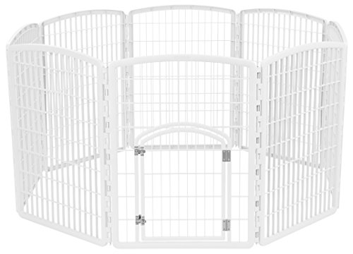 IRIS 34'' Exercise 8-Panel Pet Playpen with Door, - White Plastic Pen