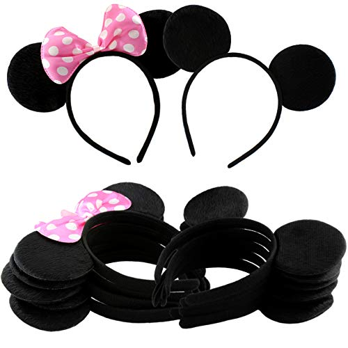 Cornucopia Brands Combo Pack Mouse Ear Headbands (6 w/Bows, 6 w/o, 12-Pack) Mickey & Minnie Style Headband