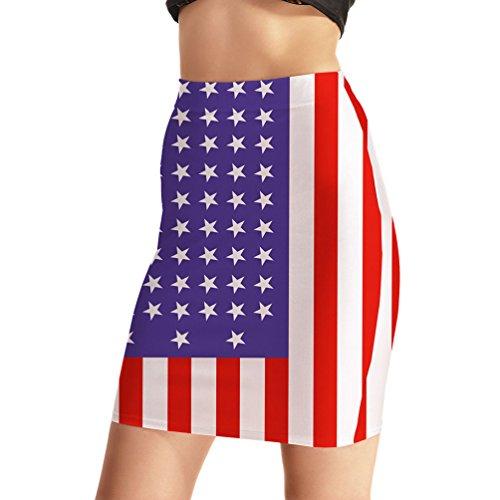 Ytwysj Women Vintage USA American Flag Printed Elastic Waist Bodycon Casual Stretchy Above Knee Pencil Mini Skirt