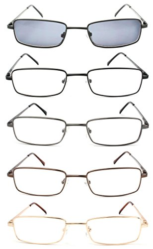 5-Pack Spring Hinge Reading Glasses Men Includes Sun Readers 2.50