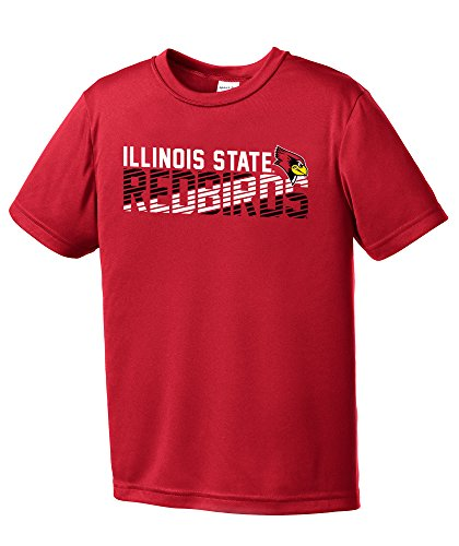 (NCAA Illinois State Redbirds Youth Boys Diagonal Short sleeve Polyester Competitor T-Shirt, Youth Large,Red)