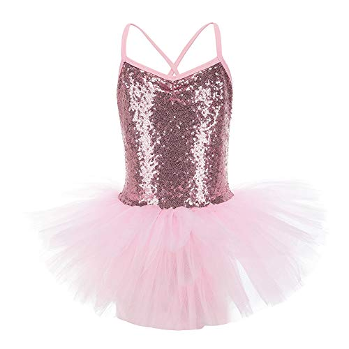 LOLANTA Girls Sequin Camisole Ballet Tutu Dress Ballerina Swan Costume Gymnastic Leotard (Pink, 3-4)]()