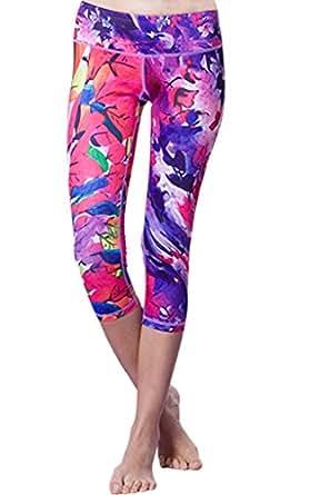 Sosite Women's Floral Print Capri Yoga Pants Fitness Leggings Tights-L