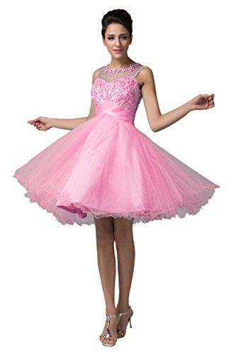 [Open Back Beads Short Prom Dresses for Teens Pink Size 12] (Masquerade Dresses For Sale)