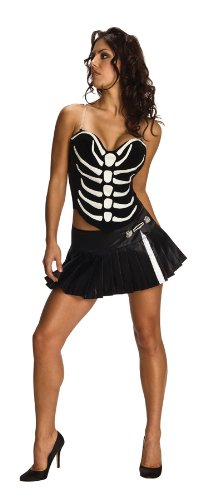 Secret Wishes  Sexy Skeleton Shirt And Skirt Set, Black, Large
