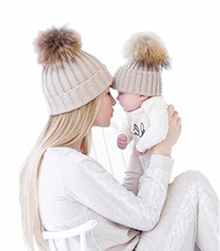 TAORE Mom And Baby Knitting Keep Warm Hat (Khaki)