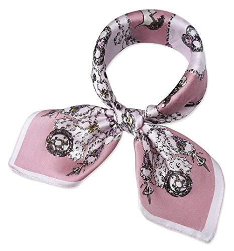 corciova Women 100% Mulberry Silk Neck Scarf Small Square Scarves Neckerchiefs Tea Rose Magnolia Chains Design