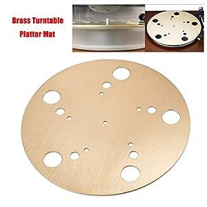 Aikeec HiFi Brass Turntable Platter Mat Anti-Vibration Anti-Static for Vinyl LP Record Player