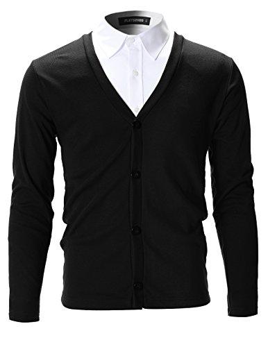 FLATSEVEN Mens Slim Fit Stylish Button up Cardigan (C100) Black, S (Inc Black Cardigan compare prices)