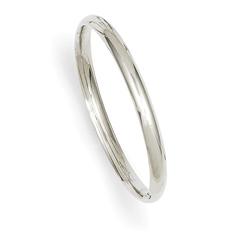 - Solid 14k 3/16 White Gold Hinged Baby Bangle Bracelet 6