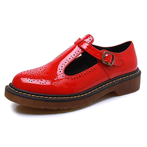 - Women's Classic Buckle T-Strap Oxfords Breathable Patent Platform Brogue Mary Jane Shoes Red