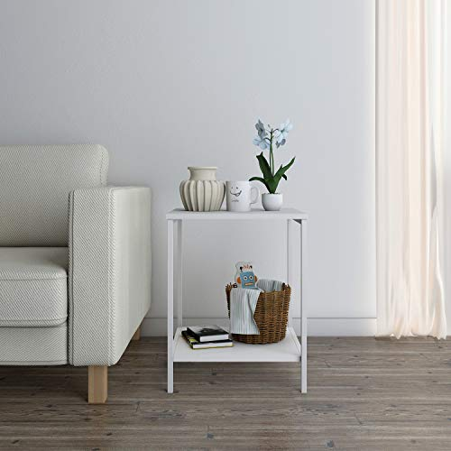 Lifewit Small 2-Tier Side Table End Table Beside Sofa, Sturdy and Easy Assembly Accent Table for Bedroom, Living Room, Modern Design, Square, White, 15.7 × 15.7 × 20 inches Bedroom Square Side Table