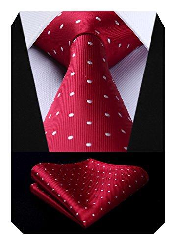 (BIYINI Men's Polka Dot Tie Handkerchief Jacquard Woven Classic Men's Necktie & Pocket Square Set Red / White)