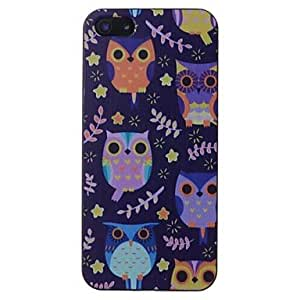 TY-Pattern Owl Pretty Negro Frame PC caso duro para el iPhone 5/5S