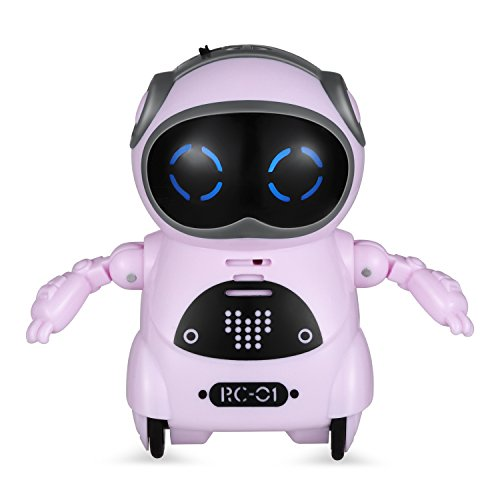 Haite Mini Robot, Pocket Robot for Kids with Interactive Dialogue Conversation, Voice Recognition, Chat Record, Singing&Dancing, Speech Recognition, Electric Small Robot Toy Gift for Kids 3+, Pink