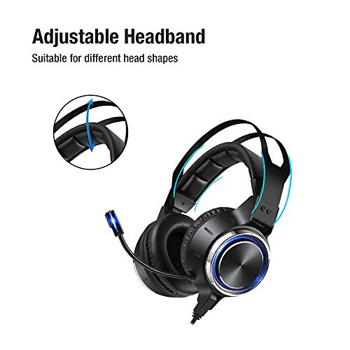 Gaming Headset Stereo Surround Sound 50MM Drivers Noise Reduction Gaming Headphones with Breathing RGB LED Light Adjustable Mic for PS4 PS5 Xbox One Switch PC Laptop Mac