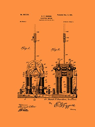 Framable Patent Art The Original Ready to Frame Décor Tesla Electric Motor Car Engine 8in by 10in Patent Art Poster Print Vintage Orange PAPXSSP228VO from Framable Patent Art