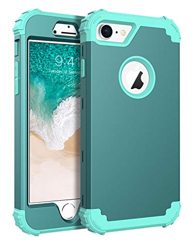 BENTOBEN Phone Case for iPhone 8/iPhone 7, 3 in 1 Shockproof Heavy Duty Rugged High Impact Resistant Hybrid Hard PC Soft Silicone Bumper Full Body Protective Case for iPhone 7/8,Ocean Water Color