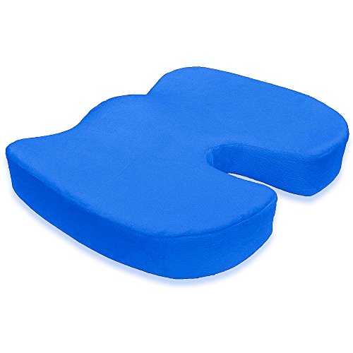 Fractured Coccyx Cushion Seat Sciatica And Pain Relief Support Office Pillow Retaining Shape and Promoting Healthy Spine Alignment Removable Zippered Washable Velvet Cover Softer Memory Foam Blue (Spine Removable)