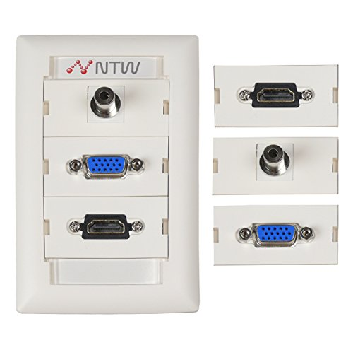 - NTW Customizable Unimedia Wall Plate with personizable ID tag - HDMI, VGA AND 3.5MM AUDIO PASS THROUGH - 3UNC-V35H