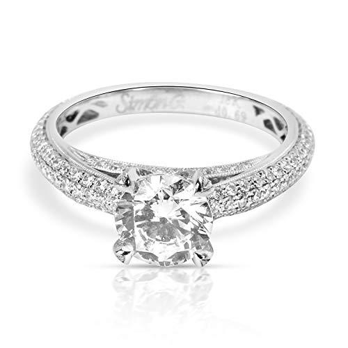 (Simon G Pave Eternity Diamond Engagement Ring Setting in 18K White Gold 0.75 CTW)