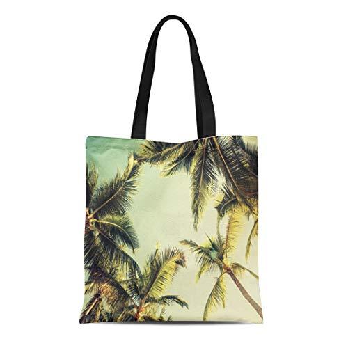 Semtomn Canvas Tote Bag Shoulder Bags Green Beach Coconut Palm Trees Over Bright Sky Vintage Women's Handle Shoulder Tote Shopper Handbag